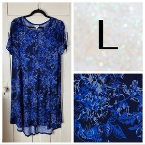 EUC LuLaRoe Carly Dress, Slinky Fabric Blue Floral
